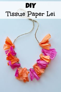 This tutorial shows a quick and easy way to make a tissue paper lei. It's perfect for summer parties, especially Hawaiian or pool party themes, and a craft that the kids can be involved in. It's brigh Pool Party Crafts, Luau Crafts, Pool Party Themes, Hawaiian Crafts, Luau Theme, Camping Crafts, Summer Crafts, Craft Party, Crafts For Kids