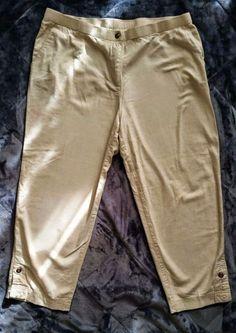 d70503adf813a Cathy Daniels TAN NATURAL ZIP FRONT ANKLE PANT Linen Blend Capri Pants Size  16  CathyDaniels