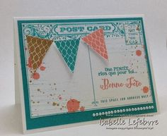 post card, fanions en fête, gorgeous grunge, Stampin'Up!