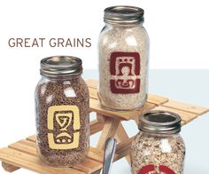 Mason jars - the most versatile surface. Easily decorated with Peel & Stick stencils and glass paints.