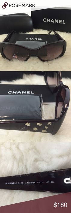 Purple charms Chanel sunglasses HP Purple sunnies! Chanel sunglasses that are lightly worn. Charm details on the side. Comes with case, box, authenticity card, and lens cloth as pictured. Minor scratches and damage to the case. CHANEL Accessories Sunglasses