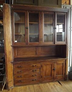 Antique Built-In Oak Hutch from 1894 Home in Lincoln Park, Chicago. #7252, $1800.00