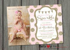 Sparkle Birthday Invitation, Blush Pink Invitation, Pink and Gold Birthday Invitation, Glitter Birthday Invitation, Blush and Gold Birthday by PartyInvitesAndMore on Etsy https://www.etsy.com/listing/209434102/sparkle-birthday-invitation-blush-pink
