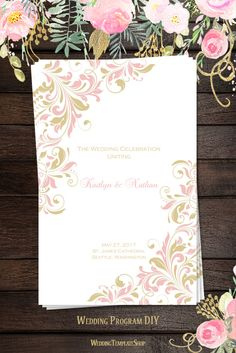 Blush Pink & Champagne Gold Wedding Programs, DIY Printable Order of Service Templates in Kaitlyn Design Series.
