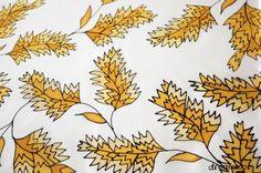 Pañuelo de seda pintado a mano. hojas, Complementos, Pañuelos