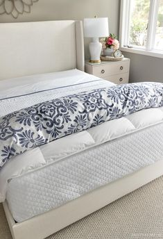 The simple way to put your duvet cover over your insert White Coverlet, Driven By Decor, The Company Store, Guest Bed, White Patterns, Duvet Insert, Sheet Sets, Navy And White, Mattress