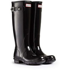 Hunter Women's Original Tall Gloss Boot (8.635 RUB) ❤ liked on Polyvore featuring shoes, boots, hunter, black, hunter boots, shiny boots, shining boots, black boots and tall black boots