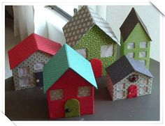 Cart Before The Horse: Little Houses for You and Me- Cute, little cardboard/fabric houses Kids Crafts, Diy And Crafts, Fabric Houses, Paper Houses, Cardboard Houses, Cardboard Tree, Christmas Villages, Christmas Home, Xmas