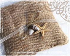 By The Sea Burlap Ring Bearer Pillow - Rustic Weddings - Country Spring  Elegance Wedding - Starfish And Seashells. $14.50, via Etsy.