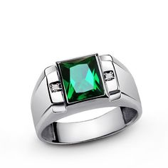 Emerald Men's Ring with Genuine Diamonds in Sterling Silver Green Gemstone Ring for Men