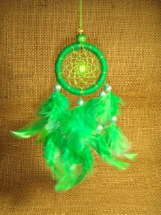 Colorful Yarn Small Dream Catcher With Green Feather by BCraftDeco, $10.00