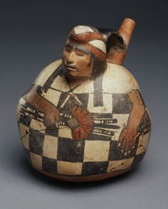 Early Intermediate (Middle Nasca), Nasca Place made: South coast, Peru Vessel in the form of a seated man Ancient History, Art History, Nazca Peru, Maya, Peruvian Art, Fire Painting, Art Premier, Native American Pottery, Mesoamerican