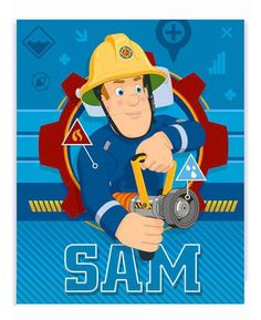 This cool Fireman Sam Fleece Blanket features Fireman Sam on a blue patterned background and is machine washable. Free UK delivery available