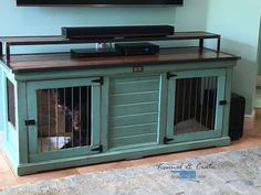 Designer indoor dog kennels! Replace your wire dog crate with a beautiful piece of functional furniture! Great conversation piece that can be used as an entertainment center, console table, entry table, credenza, buffet, kitchen island or laundry room folding table! Share your ideas with us! We build custom pieces! #puppytrainingcrateideas