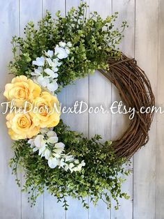 Yellow Grapevine Wreaths with Wisteria  by TheDoorNextDoor on Etsy