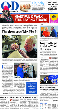 The front page for Sunday, March 6, 2016: The demise of Mr. Fix-It