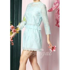 Vintage Stand Collar 3/4 Sleeve Ruffled Blouse and Skirt Suit For Women