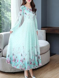 V-Neck Floral Printed Maxi Dress Bridesmaid Dresses With Sleeves, Gowns With Sleeves, Maxi Dress With Sleeves, One Piece Dress Long, Casual Gowns, Mother Of Bride Outfits, Long Gown Dress, Korean Fashion Dress, Fairytale Dress