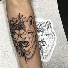 The meaning of tattoos of wolves is the subject of today& article nuetro for all tattoo lovers who want a design that includes the wolf. Wolf Girl Tattoos, Wolf Tattoos For Women, Unique Tattoos For Women, Sleeve Tattoos For Women, Wolf Tattoo Forearm, Small Wolf Tattoo, Small Forearm Tattoos, Small Tattoos, Ohana Tattoo