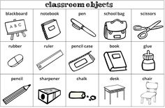 Parts of the classroom vocabulary. English Teaching Materials, English Teaching Resources, English Worksheets For Kids, English Lessons For Kids, Kids English, English Activities, School Worksheets, Learn English, English Classroom