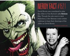 Nerdy Fact #1521: David Bowie was considered to play the Joker in Tim Burton's 1989 Batman film. Though the role went to Jack Nicholson, a few Batman comic artists continue to base their drawings of the Joker on David Bowie.(Source.)