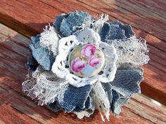 OOAK Handmade denim and lace Cowgirl Chic flower by JsCraftyStudio, $4.00