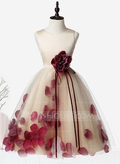 A-Line/Princess Knee-length Flower Girl Dress - Organza/Satin/Tulle Sleeveless Scoop Neck With Flower(s) - Flower Girl Dresses - JJsHouse Dress Flower, Cheap Flower Girl Dresses, Dresses Kids Girl, Cute Dresses, Beautiful Dresses, Girl Outfits, Homecoming Dresses, Bridesmaid Dresses, Satin Tulle