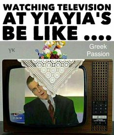 Watching TV at Yiayia's Greek Memes, Funny Greek, Greek Quotes, Greek Girl, Greek Culture, Greek Words, Funny Photos, In This World, Laughter