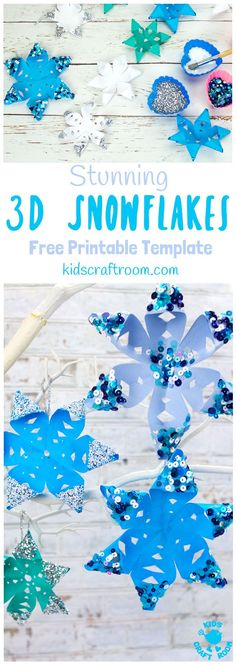 STUNNING 3D SNOWFLAKE CRAFT - perfect for hanging on the Christmas tree or for Winter themed fun! A Winter craft with a difference! ( free printable template) #snowflakes #christmas #ornaments #christmascrafts #wintercrafts #winteractivities #snow #kidscrafts #kidscraftroom