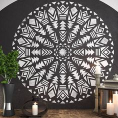 Native Mandala Stencil Large Wall Stencils Wall Art Stencil