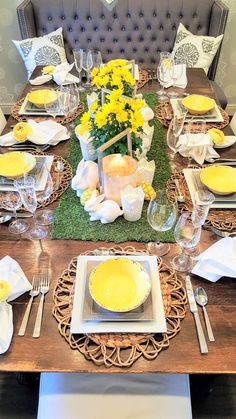 Yellow, Grey and White Easter Table Setting - Home with Holliday