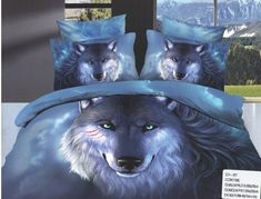 AlyShop: Lenjerie pentru pat dublu din bumbac satinat - Wolf