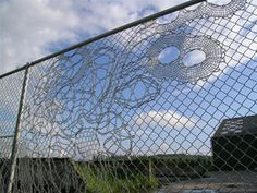 If It& Hip, It& Here: Turning Chain Link Fencing Into Art.If It& Hip, It& Here: Turning Chain Link Fencing Into Art. Lace Fences By Demakersvan. Chain Link Fence Parts, Diy Playground, Fence Art, Yarn Bombing, Fence Design, Public Art, Urban Art, Architecture Design, Graffiti