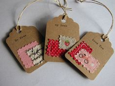 Items similar to sewn fabric and hand typed kraft paper gift tags, love notes set of 8 handmade designs and vintage treasures by on Etsy Fabric Cards, Fabric Gifts, Paper Gifts, Paper Tags, Kraft Paper, Retreat Gifts, Fabric Stamping, Handmade Gift Tags, Fabric Jewelry