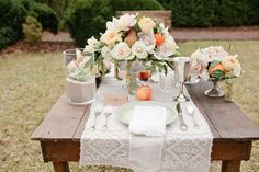 peaches and lace tablescape