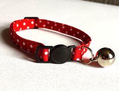 Cat Collar  Handmade  red spotty fabric by ItsAlicesImagination
