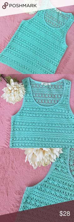 CROCHET TOP Beautiful aqua color crochet top. Looks very nice with jeans. Size: Small. Brand: Forever 21. No flaws, no trades, No returns✔️SHIPPING NEXT DAY✔️ MAKE AN OFFER AND MAKE IT YOURSKIKI IS A TOP SELLER Forever 21 Tops Blouses