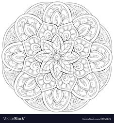 Adult coloring bookpage a zen mandala image for vector image on VectorStock Dover Coloring Pages, Mandala Coloring Pages, Adult Coloring Pages, Coloring Books, Trippy Drawings, Cool Drawings, Wood Burning Patterns, Zen Art, Stationery Paper