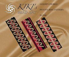 Pattern, peyote Golden swirls rings - peyote ring set of 3 patterns in PDF - instant download