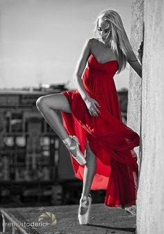 Sexy Color Splash On Pinterest | Red dress with ballerina dancing in the city