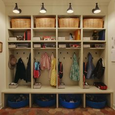 Mud Room Open Lockers - Design photos, ideas and inspiration. Amazing gallery of interior design and decorating ideas of Mud Room Open Lockers in laundry/mudrooms by elite interior designers. Boot Room, Lockers, Room, Mudroom, Shelves, Interior, Home, Cubby Storage, Mudroom Laundry Room