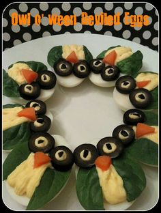 OWL-o-ween Deviled Eggs  Totally LOVE! @TheDailyBasics ♥♥♥