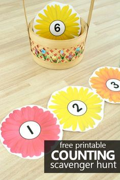Counting Flowers Scavenger Hunt Freebie - Fantastic Fun & Learning Get kids up and moving as they practice counting numbers to 20 in this free printable counting flowers scavenger hunt for preschool and kindergarten. Preschool Flower Theme, Preschool Garden, Preschool Lesson Plans, Preschool Classroom, Kindergarten, Preschool Ideas, Classroom Ideas, Counting For Kids, Math For Kids