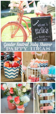 A lovely gender neutral baby shower with a navy blue, coral, light blue and gray color scheme and chevron accents.  See more party ideas at CatchMyParty.com!