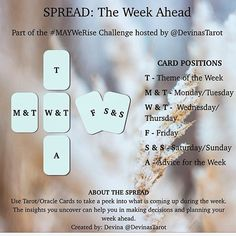 Almost the end of the weekend (again!). Take some time for yourself to see what's in store for your week ahead. Tag me in your spread pics! Would love to see them Comment if you have any questions. I'll be posting my personal reading for the upcoming week in a few hours! I hope your weekend has been relaxing and rejuvenating!