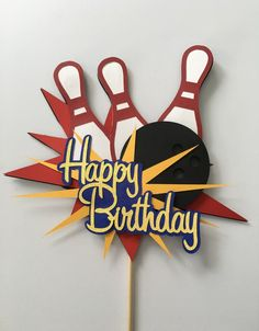 Customizable to match your party colors Cake topper is made with high quality cardstock attched to a white food safe stick Measurements by Happy Birthday Font, 1st Birthday Cards, Baby Boy Birthday, Happy Birthday Cakes, Birthday Ideas, Bowling Birthday Cakes, 1st Birthday Cake Topper, Baby Boy Cake Topper, Baby Boy Cakes