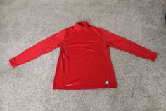 Nike Pro Combat Hyperwarm Mock Fitted Base Layer Shirt Red Large L 424897-648 #Nike #Top