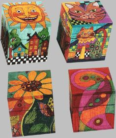 The Art of Helen Heins Peterson - Slideshow Visualizador Painted Wooden Boxes, Painted Chairs, Hand Painted Furniture, Wooden Cubes, Arts And Crafts, Diy Crafts, Tole Painting, Paint Designs, Box Art