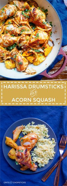 Harissa and yogurt marinated chicken drumsticks roasted along with ...