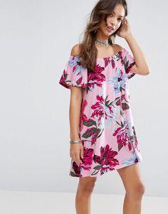 b894d95b6b Shop ASOS Off Shoulder Sundress in Pink Floral Print at ASOS.